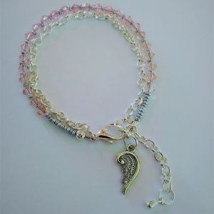 Pink Swarovski  Bracelet with Angel Wing Charm